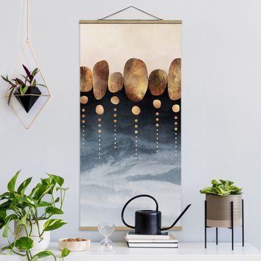 Foto su tessuto da parete con bastone - Elisabeth Fredriksson - Astratte Golden Stones - Verticale 2:1