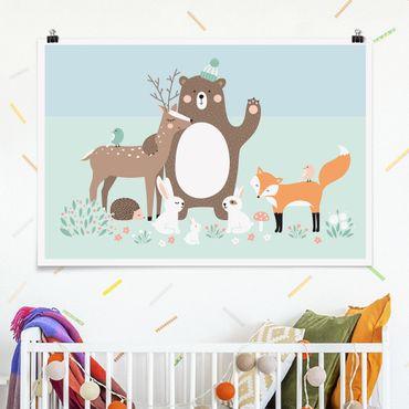 Poster - I bambini del modello Forest Friends con foresta Animali Blue - Orizzontale 2:3