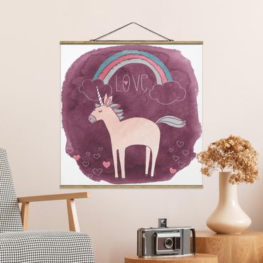 Foto su tessuto da parete con bastone - Unicorn Force - Amore - Quadrato 1:1