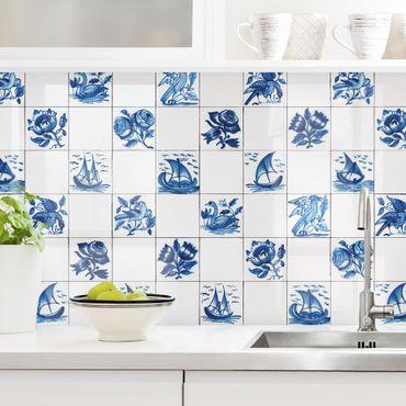 Rivestimento cucina - Piastrelle ceramica dipinta a mano motivi in blu
