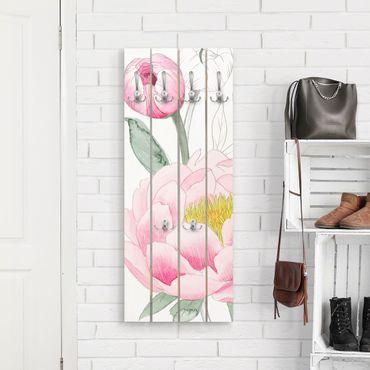 Appendiabiti in legno - Disegno Pink Peony II - Ganci cromati - Verticale