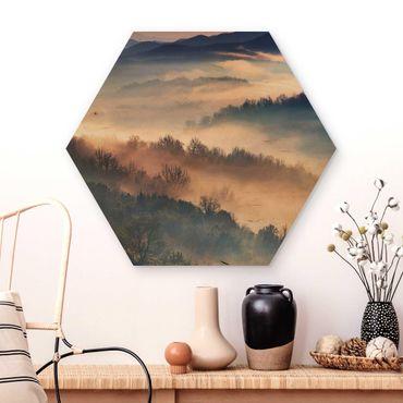 Esagono in legno - Nebbia al tramonto