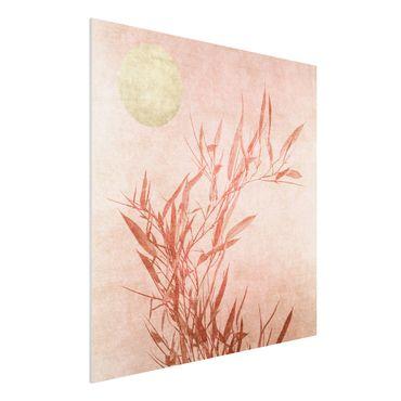 Stampa su Forex - Sole dorato con bambù rosa - Quadrato 1:1
