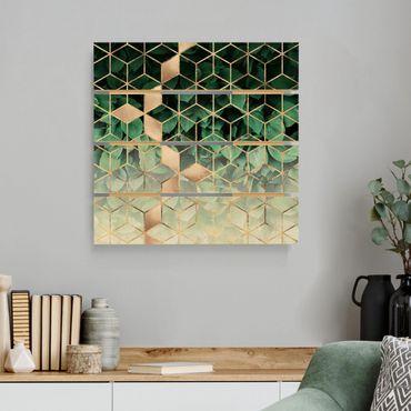 Stampa su legno - Elisabeth Fredriksson - Verde Foglie d'oro Geometria - Quadrato 1:1