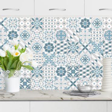 Rivestimento cucina - Piastrelle geometriche mix blu grigio