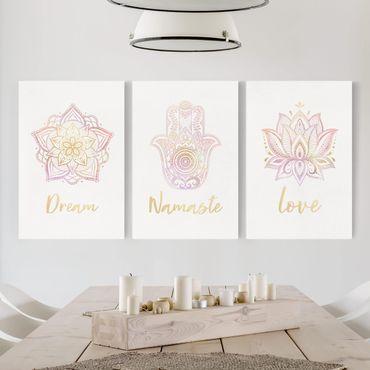 Stampa su tela - Mandala Namaste Lotus Set oro rosa - Verticale 3:2