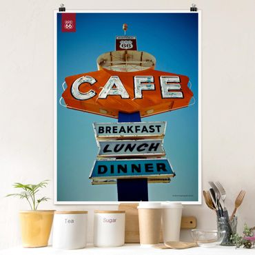 Poster - Route 66 - Shield Café - Verticale 4:3