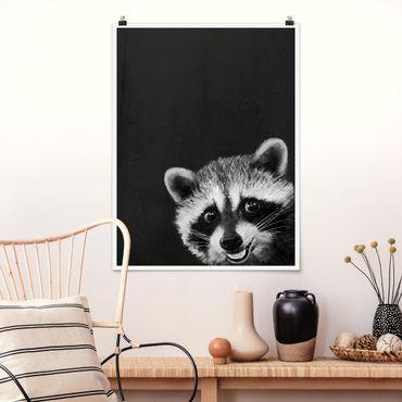 Poster - Illustrazione Raccoon Monochrome Pittura - Verticale 4:3