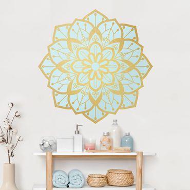 Adesivo murale - Mandala Fiore modello Oro Azzurro