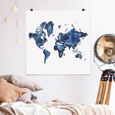 Poster - Water World Map Luminoso - Quadrato 1:1