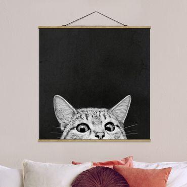 Foto su tessuto da parete con bastone - Laura Graves - Illustrazione Gatto Bianco e nero Disegno - Quadrato 1:1