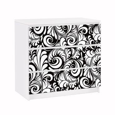 Carta adesiva per mobili IKEA - Malm Cassettiera 3xCassetti - Black and White Leaves Pattern