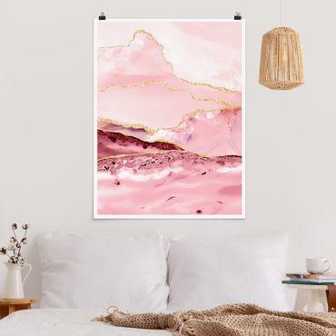 Poster - Estratto Monti rosa con Golden Lines - Verticale 4:3