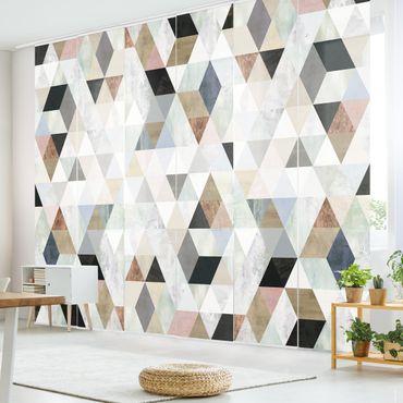 Tenda scorrevole set - Mosaici in triangolo in acquerello I
