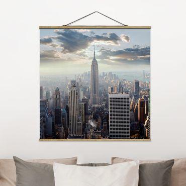Foto su tessuto da parete con bastone - Alba A New York - Quadrato 1:1