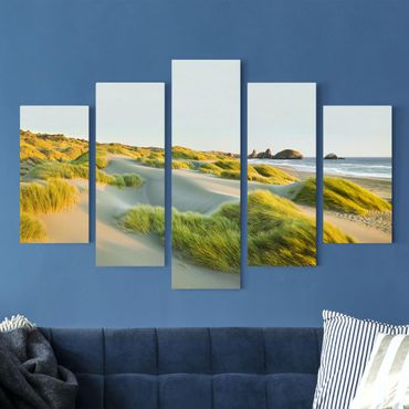 Stampa su tela 5 parti - Dunes and grasses at the sea