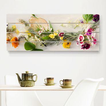 Stampa su legno - Fresco Erbe con fiori commestibili - Orizzontale 2:5