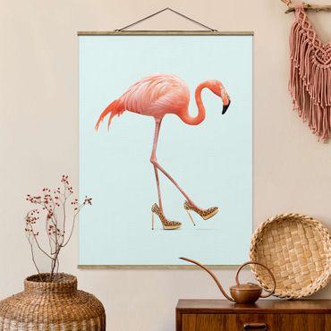 Foto su tessuto da parete con bastone - Flamingo con tacchi alti - Verticale 4:3