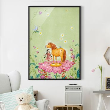 Poster con cornice - The Magic Pony On The Flower - Verticale 4:3