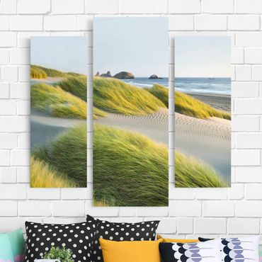 Stampa su tela 3 parti - Dunes And Grasses At The Sea - Trittico da galleria
