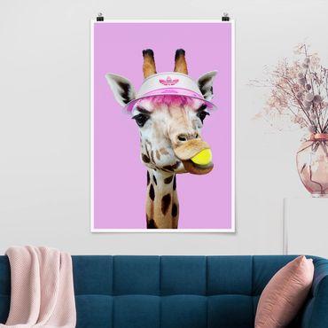 Poster - Jonas Loose - Giraffa che gioca tennis - Verticale 3:2