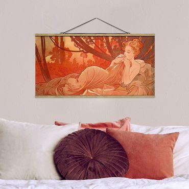 Foto su tessuto da parete con bastone - Alfons Mucha - Dusk - Orizzontale 1:2