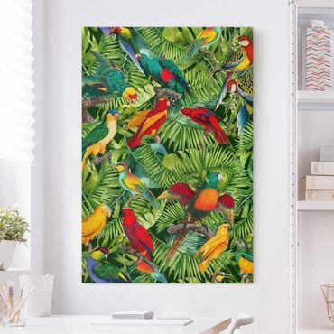 Stampa su tela - Colorato collage - Parrot In The Jungle - Verticale 3:2