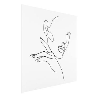 Stampa su Forex - Line Art Woman Portrait Bianco e nero - Quadrato 1:1