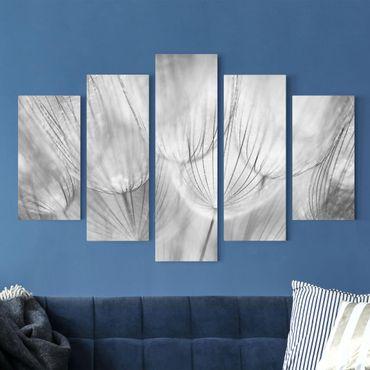 Stampa su tela 5 parti - Dandelions macro shot in black and white