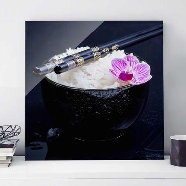 Quadro in vetro - Rice Bowl Con L'orchidea - Quadrato 1:1
