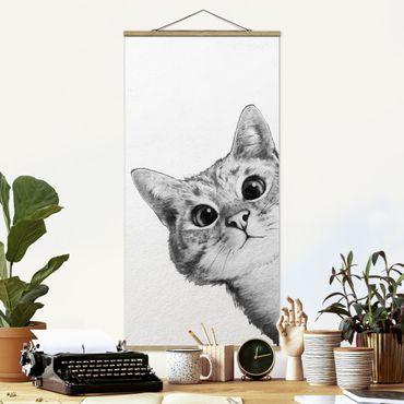 Foto su tessuto da parete con bastone - Laura Graves - Illustrazione Cat Disegno Nero Bianco - Verticale 2:1