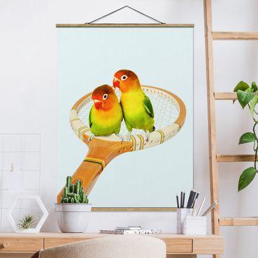 Foto su tessuto da parete con bastone - Tennis Con Uccelli - Verticale 4:3