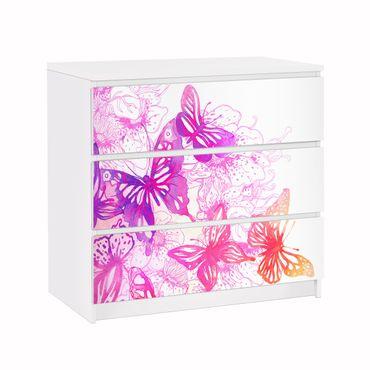 Carta adesiva per mobili IKEA - Malm Cassettiera 3xCassetti - Butterfly Dream
