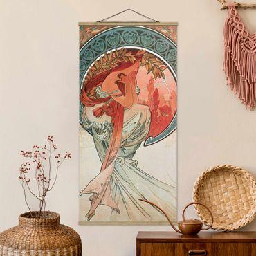 Foto su tessuto da parete con bastone - Alfons Mucha - Quattro arti - Poesia - Verticale 2:1