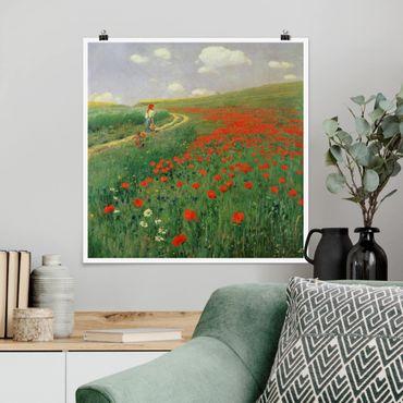 Poster - Pál Szinyei-Merse - Paesaggio estivo con una fioritura di papavero - Quadrato 1:1