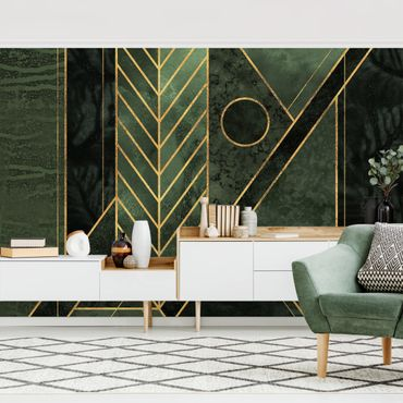 Carta da parati - Forme geometriche oro verde smeraldo- Formato quadrato