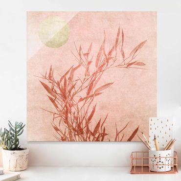Quadro in vetro - Sole dorato con bambù rosa - Quadrato 1:1