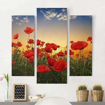 Stampa su tela 3 parti - Poppy Field In The Sunset - Trittico da galleria