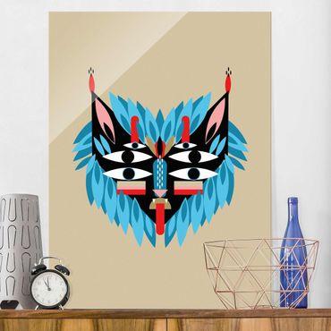 Quadro in vetro - Collage Mask Ethnic - Lion - Verticale 4:3