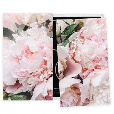 Coprifornelli in vetro - Peonie rosa chiaro - 52x80cm