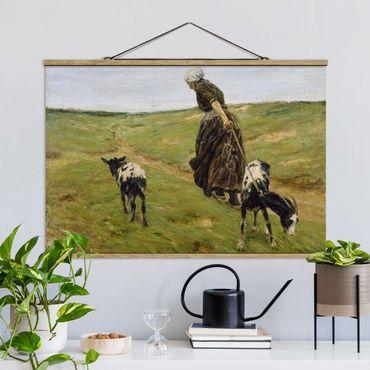 Foto su tessuto da parete con bastone - Max Liebermann - Donna Con Nanny Goats - Orizzontale 2:3