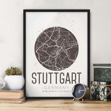 Poster con cornice - Stuttgart City Map - Retro - Verticale 4:3