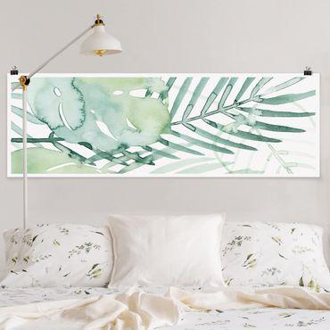 Poster - Palm Fronde in acquerello I - Panorama formato orizzontale
