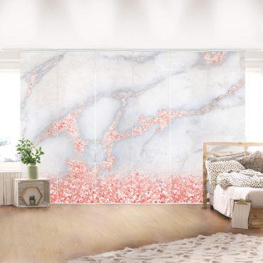 Tende scorrevoli set - Ottica marmo con Rosa Confetti - 6 Pannelli