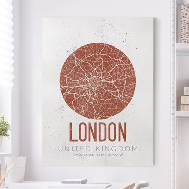 Stampa su tela - London City Map - Retro - Verticale 3:4