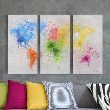 Stampa su tela 3 parti - Colorful splashes world map - Verticale 2:1