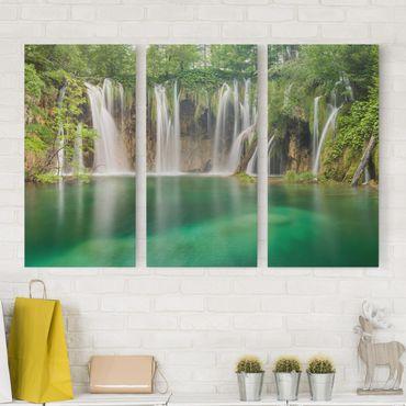 Stampa su tela 3 parti - Waterfall Plitvice Lakes - Verticale 2:1