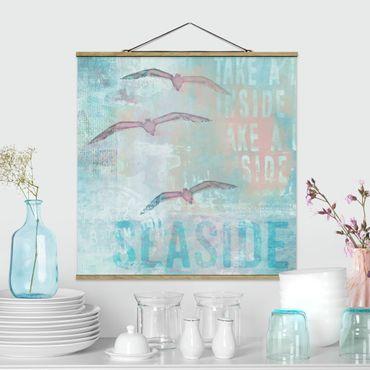 Foto su tessuto da parete con bastone - Shabby Chic Collage - Gabbiani - Quadrato 1:1