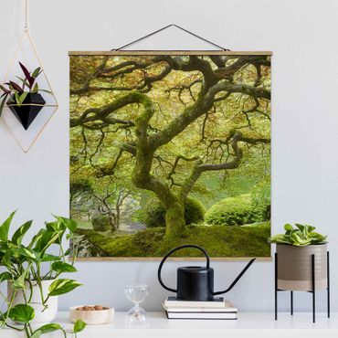 Quadro su tessuto con stecche per poster - Verde Giardino Giapponese - Quadrato 1:1