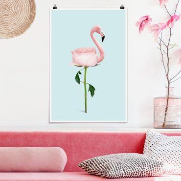 Poster - Jonas Loose - Flamingo con Rosa - Verticale 3:2